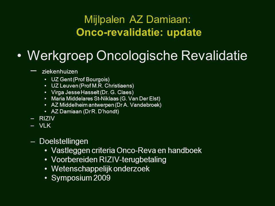 Mijlpalen AZ Damiaan: Onco-revalidatie: update Werkgroep Oncologische Revalidatie – ziekenhuizen UZ Gent (Prof Bourgois) UZ Leuven (Prof M.R. Christia
