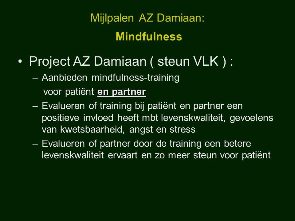 Mijlpalen AZ Damiaan: Mindfulness Project AZ Damiaan ( steun VLK ) : –Aanbieden mindfulness-training en partner voor patiënt en partner –Evalueren of