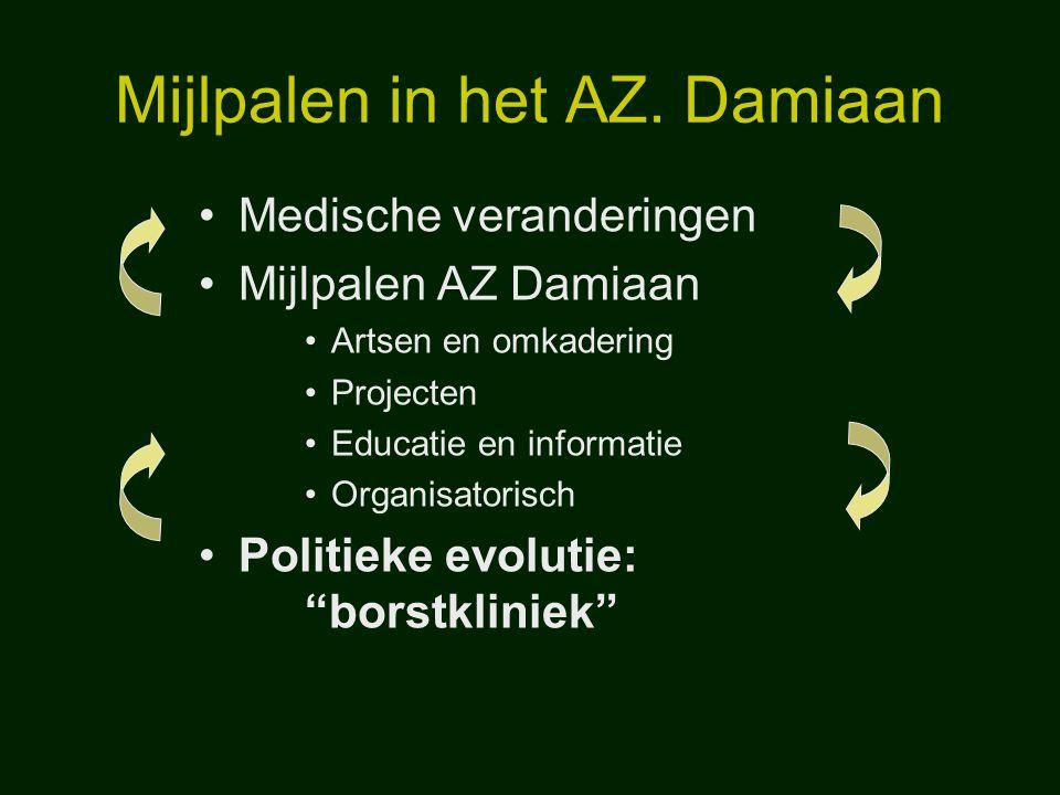 Mijlpalen in het AZ. Damiaan Medische veranderingen Mijlpalen AZ Damiaan Artsen en omkadering Projecten Educatie en informatie Organisatorisch Politie