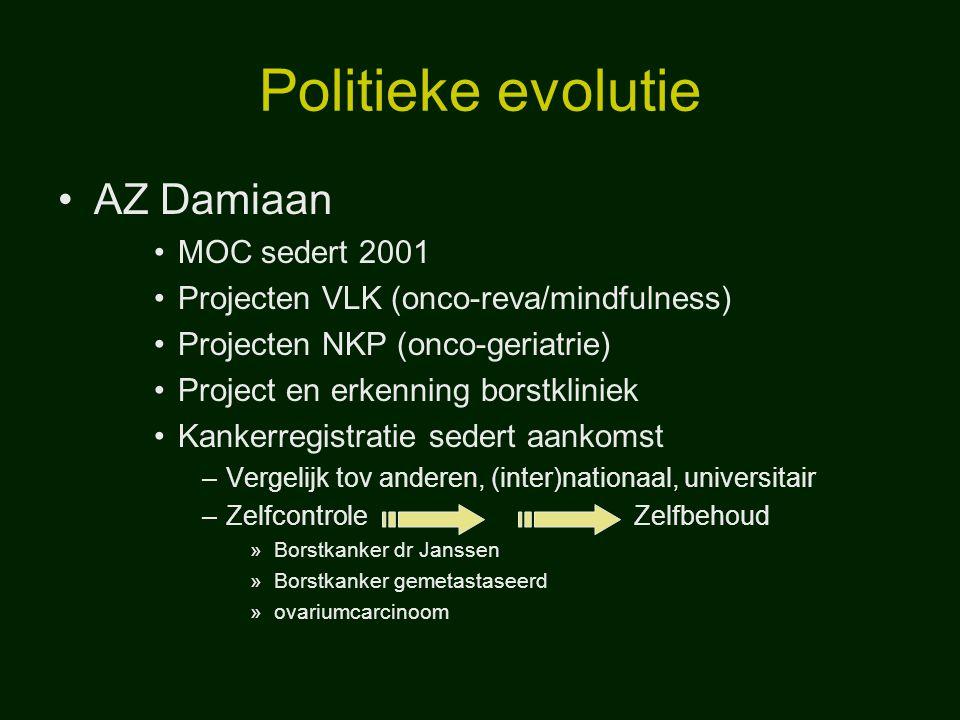Politieke evolutie AZ Damiaan MOC sedert 2001 Projecten VLK (onco-reva/mindfulness) Projecten NKP (onco-geriatrie) Project en erkenning borstkliniek K