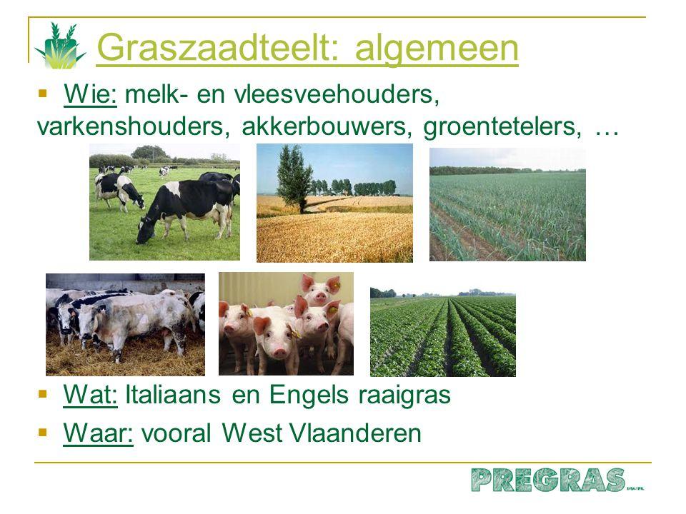 Graszaadteelt: algemeen  Wie: melk- en vleesveehouders, varkenshouders, akkerbouwers, groentetelers, …  Wat: Italiaans en Engels raaigras  Waar: vo