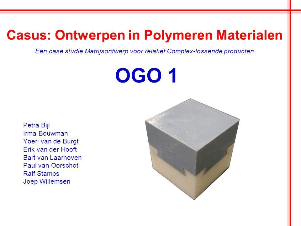 OGO 1 Petra Bijl Irma Bouwman Yoeri van de Burgt Erik van der Hooft Bart van Laarhoven Paul van Oorschot Ralf Stamps Joep Willemsen Casus: Ontwerpen i