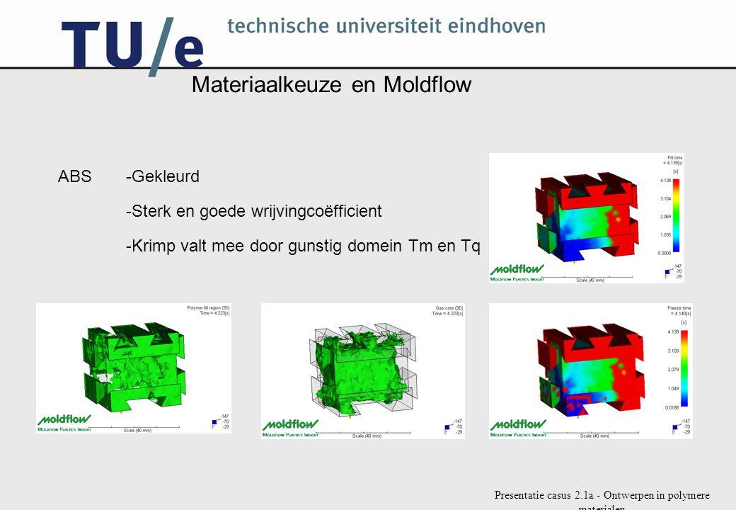 Presentatie casus 2.1a - Ontwerpen in polymere materialen Materiaalkeuze en Moldflow ABS-Gekleurd -Sterk en goede wrijvingcoëfficient -Krimp valt mee door gunstig domein Tm en Tq