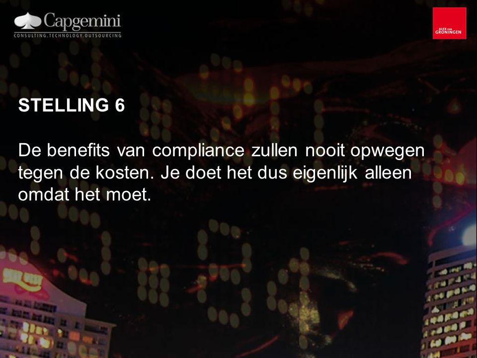 STELLING 6 De benefits van compliance zullen nooit opwegen tegen de kosten.