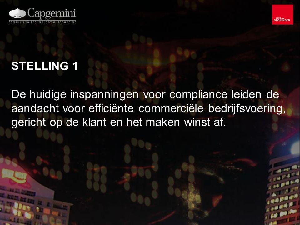 STELLING 1 De huidige inspanningen voor compliance leiden de aandacht voor efficiënte commerciële bedrijfsvoering, gericht op de klant en het maken winst af.