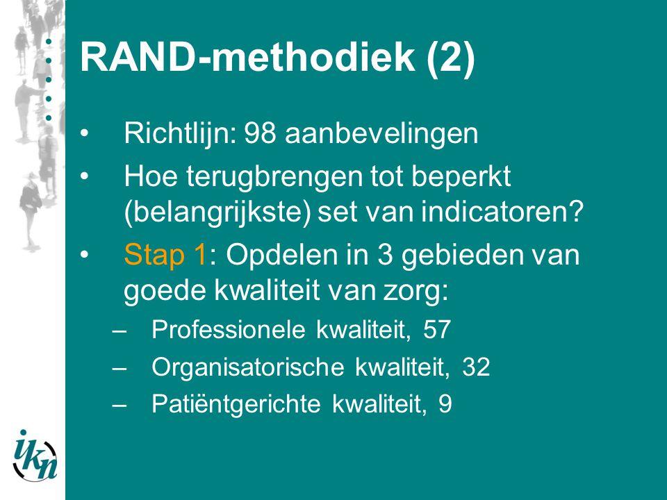 RAND-methodiek (3) Stap 2: Eerste beoordelingsronde Alle leden en op de 3 gebieden van goede kwaliteit van zorg: –Aanbeveling beoordelen op relevantie van 1 tot 9 –Persoonlijke top-5 van aanbevelingen –Eventueel extra items –Commentaar