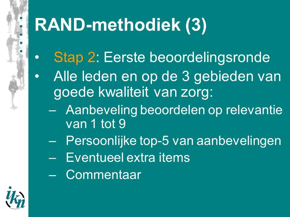 RAND-methodiek (4) Stap 3: Verwerking eerste beoordelingsronde Belangrijkste aanbevelingen (Campbell): –Mediaan: 7, 8 of 9 –Geen disagreement : 30% scores vallen binnen 1,2 en 3 EN 7, 8 en 9 –Minimaal 5 punten in top-5 beoordeling