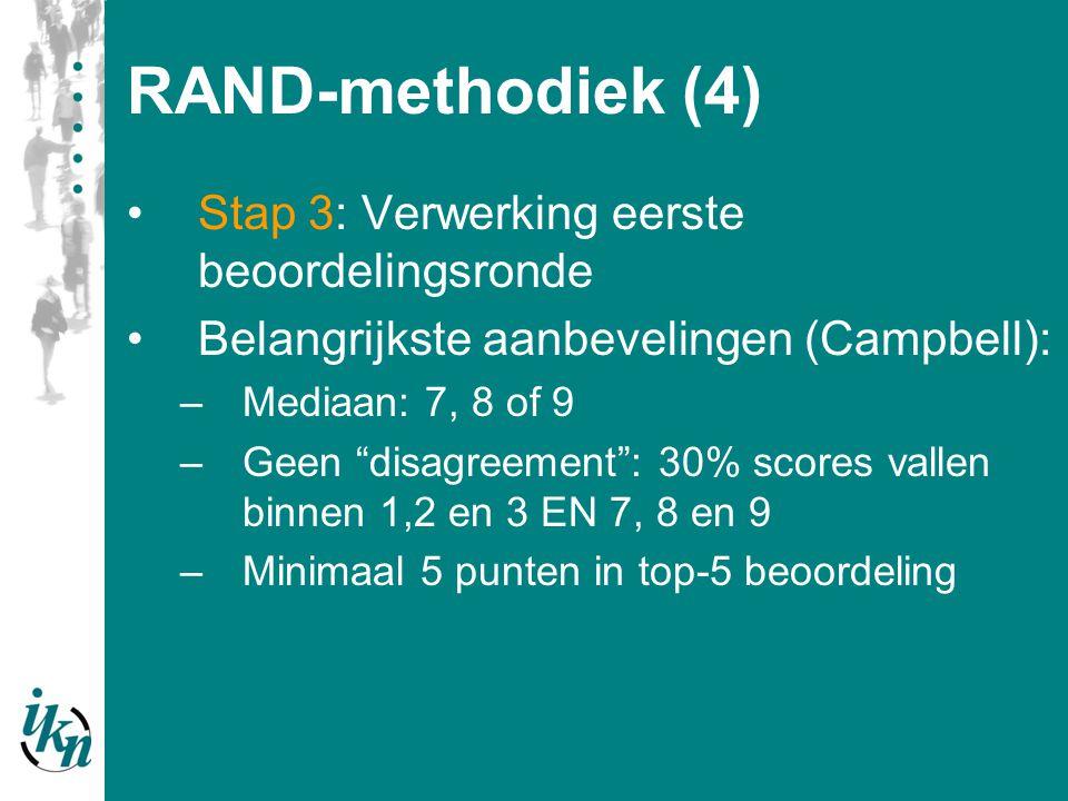 """RAND-methodiek (4) Stap 3: Verwerking eerste beoordelingsronde Belangrijkste aanbevelingen (Campbell): –Mediaan: 7, 8 of 9 –Geen """"disagreement"""": 30% s"""