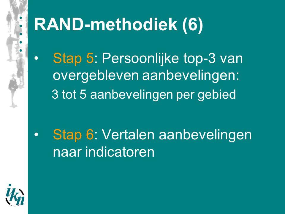 RAND-methodiek (6) Stap 5: Persoonlijke top-3 van overgebleven aanbevelingen: 3 tot 5 aanbevelingen per gebied Stap 6: Vertalen aanbevelingen naar ind
