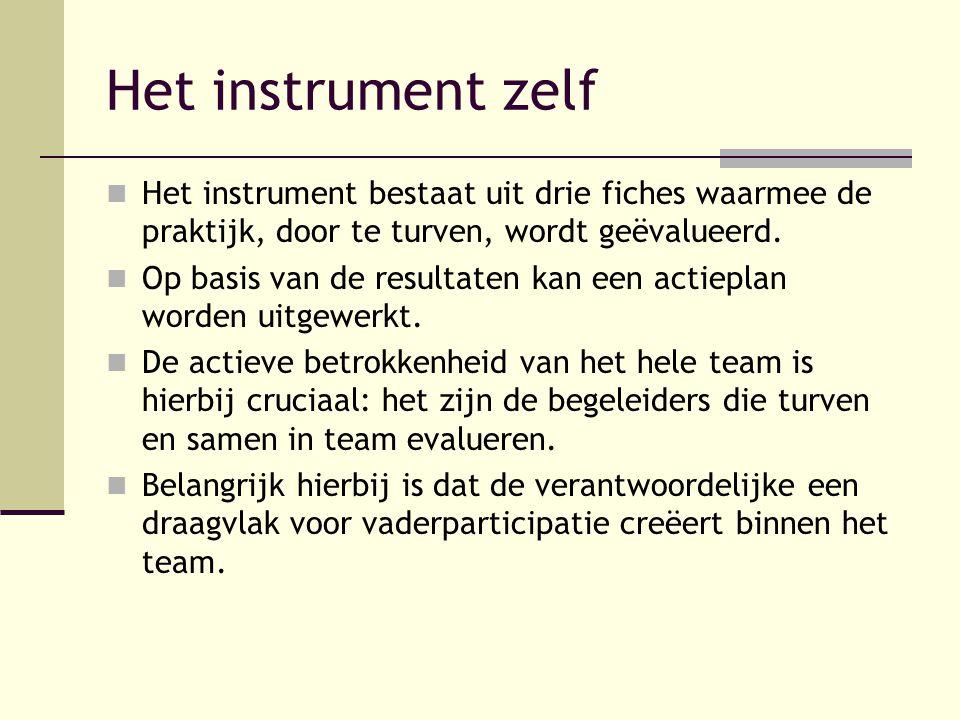 Het instrument zelf Het instrument bestaat uit drie fiches waarmee de praktijk, door te turven, wordt geëvalueerd. Op basis van de resultaten kan een