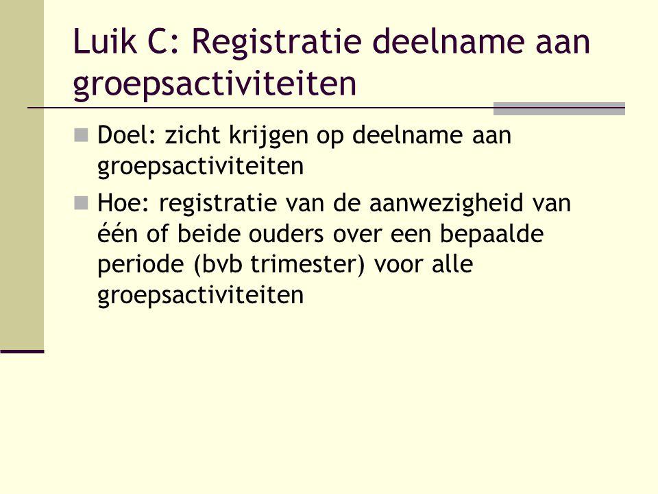 Luik C: Registratie deelname aan groepsactiviteiten Doel: zicht krijgen op deelname aan groepsactiviteiten Hoe: registratie van de aanwezigheid van éé