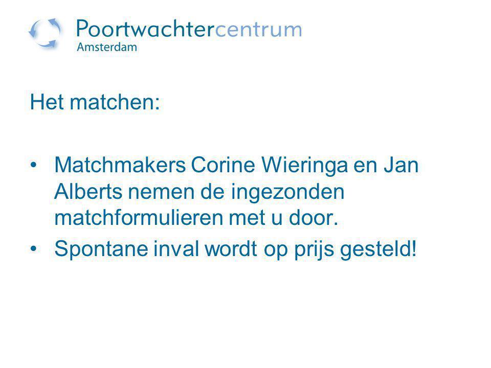 Het matchen: Matchmakers Corine Wieringa en Jan Alberts nemen de ingezonden matchformulieren met u door. Spontane inval wordt op prijs gesteld!
