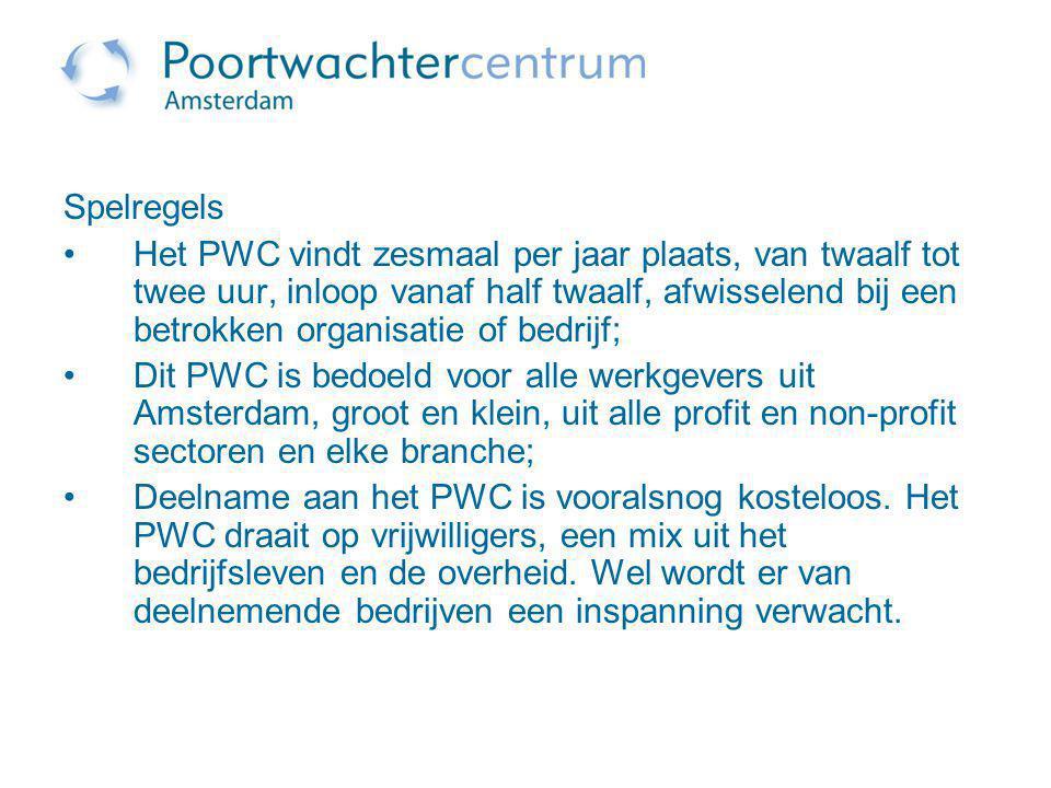 Spelregels Het PWC vindt zesmaal per jaar plaats, van twaalf tot twee uur, inloop vanaf half twaalf, afwisselend bij een betrokken organisatie of bedr