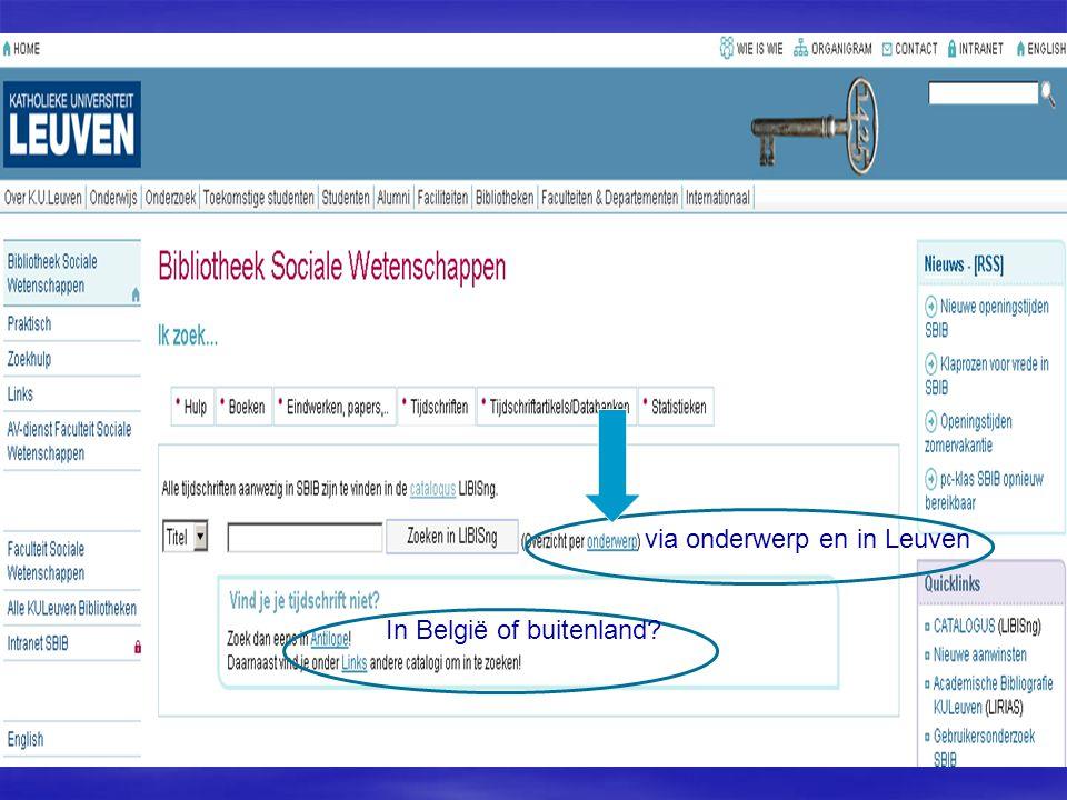via onderwerp en in Leuven In België of buitenland?