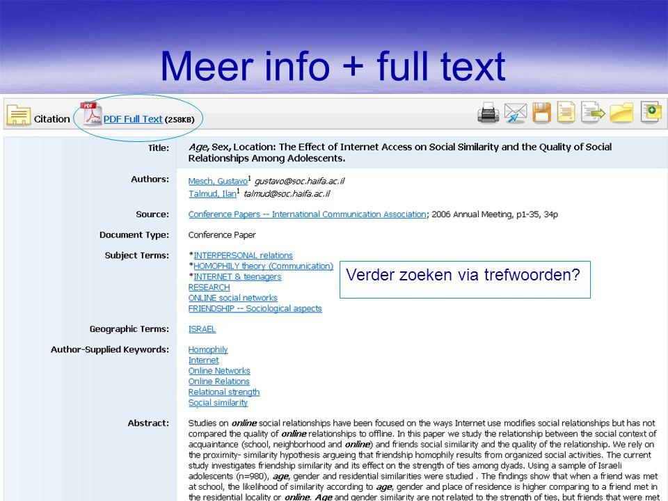 Meer info + full text Verder zoeken via trefwoorden?