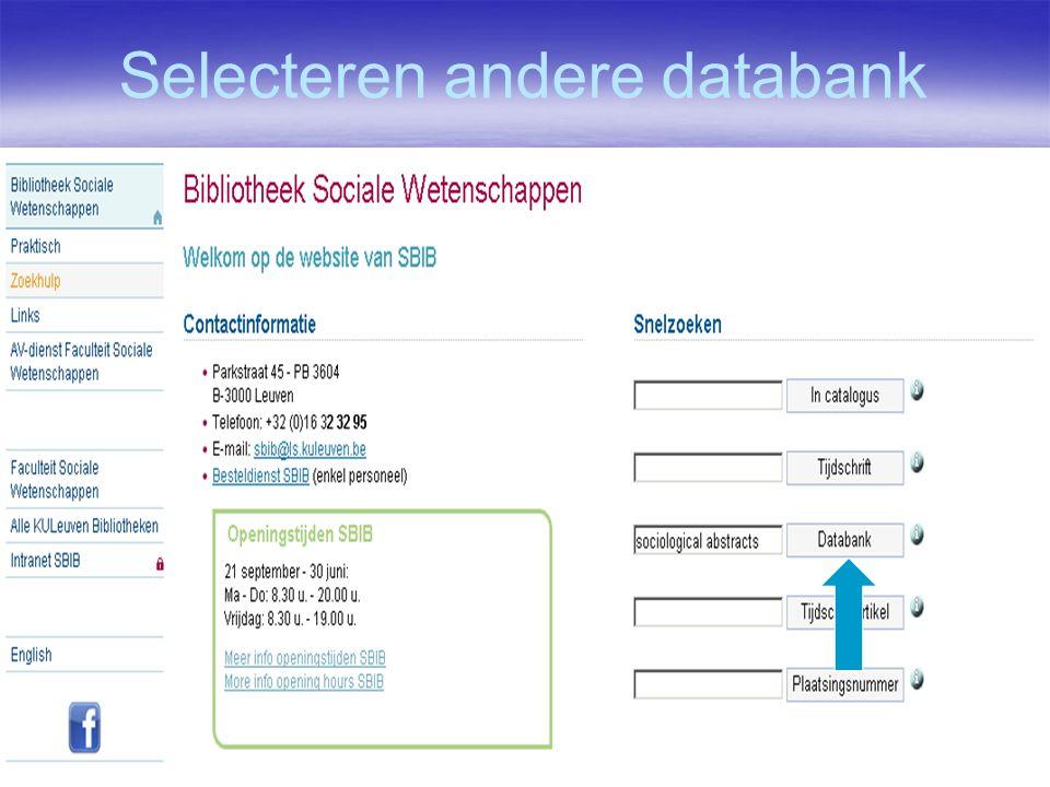 Selecteren andere databank
