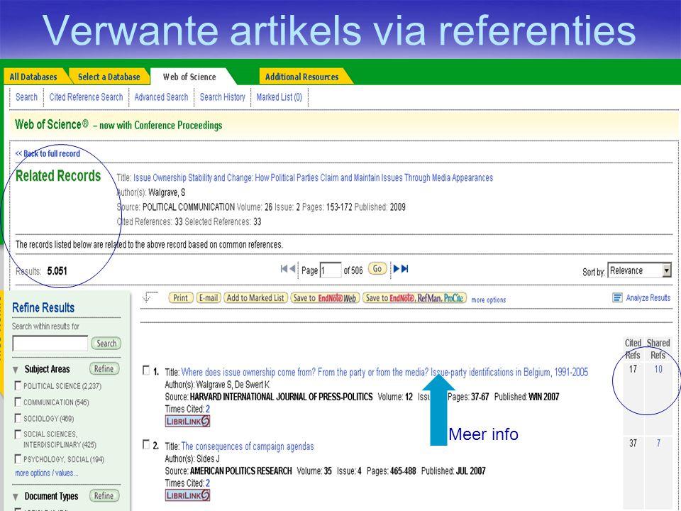 Verwante artikels via referenties Meer info