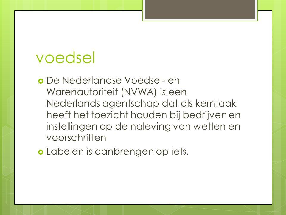 voedsel  De Nederlandse Voedsel- en Warenautoriteit (NVWA) is een Nederlands agentschap dat als kerntaak heeft het toezicht houden bij bedrijven en instellingen op de naleving van wetten en voorschriften  Labelen is aanbrengen op iets.