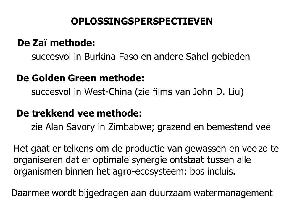 OPLOSSINGSPERSPECTIEVEN De Zaï methode: succesvol in Burkina Faso en andere Sahel gebieden De Golden Green methode: succesvol in West-China (zie films van John D.