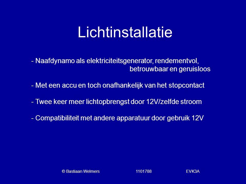 Lichtinstallatie - Naafdynamo als elektriciteitsgenerator, rendementvol, betrouwbaar en geruisloos - Met een accu en toch onafhankelijk van het stopco