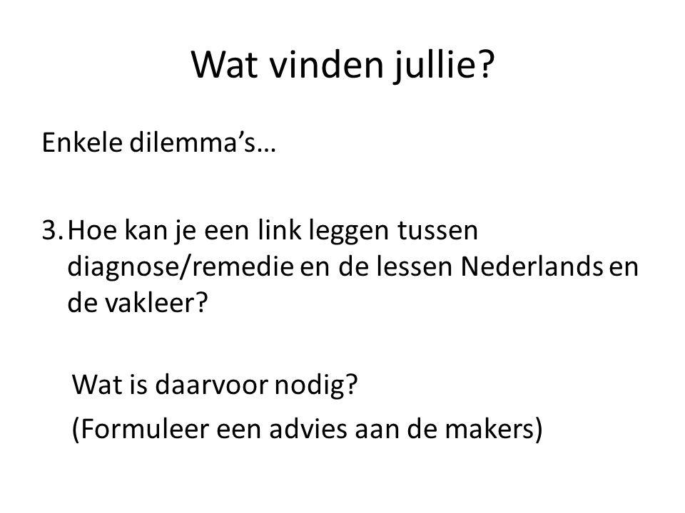 Wat vinden jullie? Enkele dilemma's… 3.Hoe kan je een link leggen tussen diagnose/remedie en de lessen Nederlands en de vakleer? Wat is daarvoor nodig