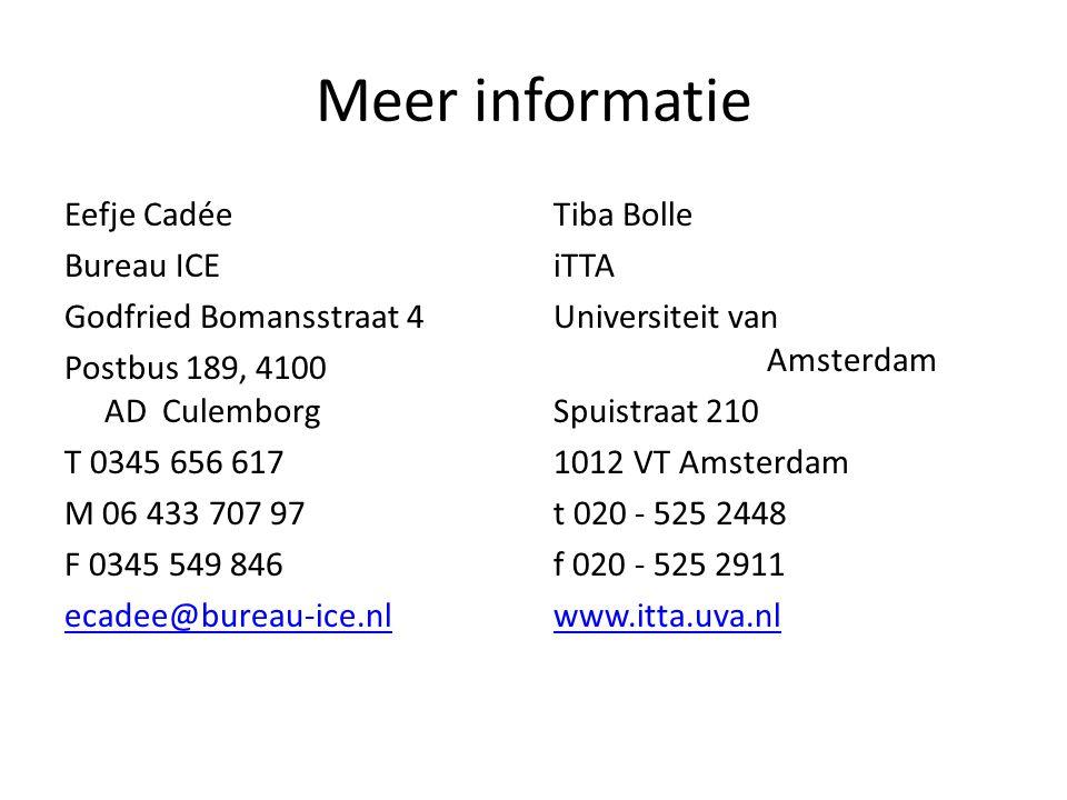 Meer informatie Eefje Cadée Bureau ICE Godfried Bomansstraat 4 Postbus 189, 4100 AD Culemborg T 0345 656 617 M 06 433 707 97 F 0345 549 846 ecadee@bur