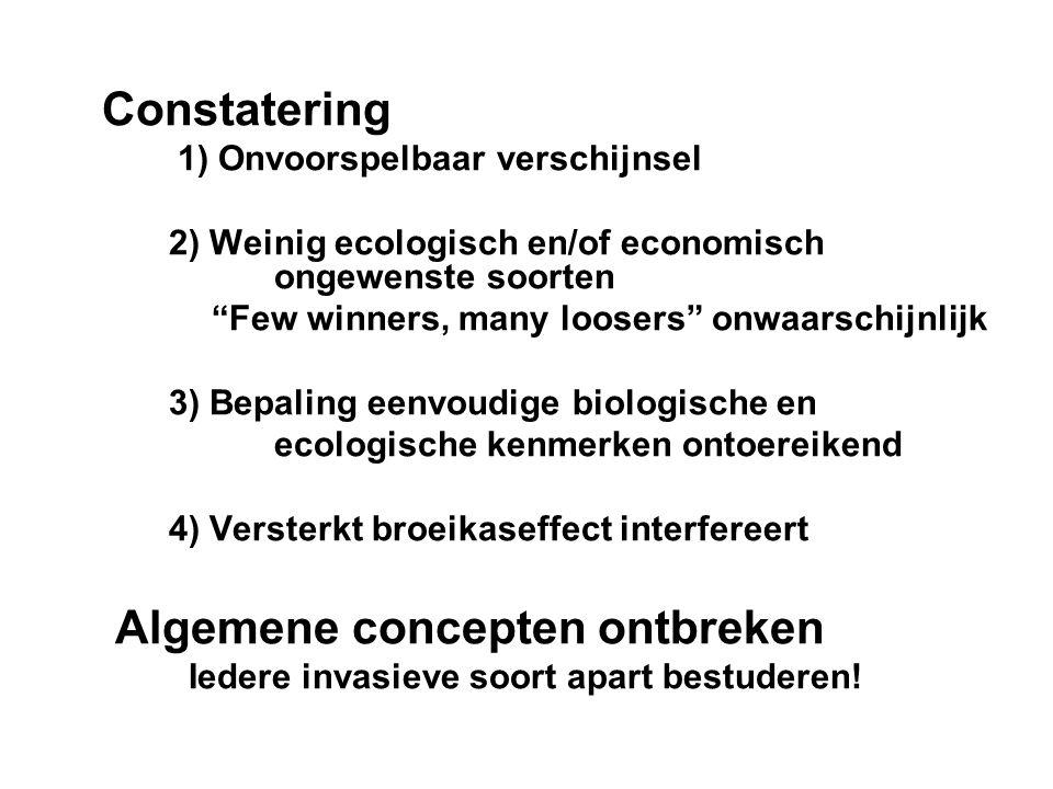 """Constatering 1) Onvoorspelbaar verschijnsel 2) Weinig ecologisch en/of economisch ongewenste soorten """"Few winners, many loosers"""" onwaarschijnlijk 3) B"""