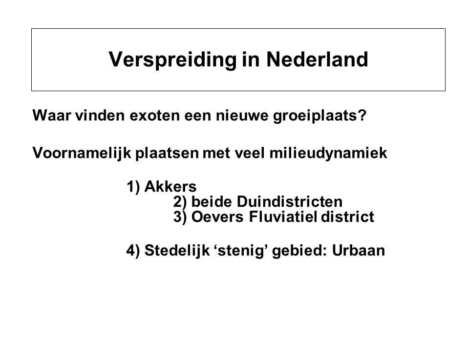Verspreiding in Nederland Waar vinden exoten een nieuwe groeiplaats? Voornamelijk plaatsen met veel milieudynamiek 1) Akkers 2) beide Duindistricten 3
