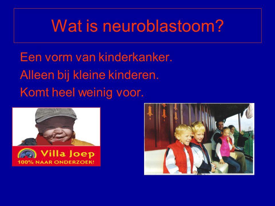 Wat is neuroblastoom? Een vorm van kinderkanker. Alleen bij kleine kinderen. Komt heel weinig voor.