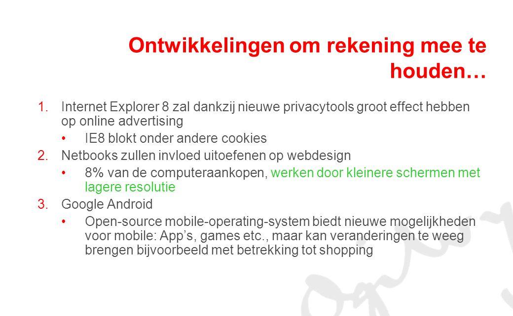 1.Internet Explorer 8 zal dankzij nieuwe privacytools groot effect hebben op online advertising IE8 blokt onder andere cookies 2.Netbooks zullen invloed uitoefenen op webdesign 8% van de computeraankopen, werken door kleinere schermen met lagere resolutie 3.Google Android Open-source mobile-operating-system biedt nieuwe mogelijkheden voor mobile: App's, games etc., maar kan veranderingen te weeg brengen bijvoorbeeld met betrekking tot shopping Ontwikkelingen om rekening mee te houden…