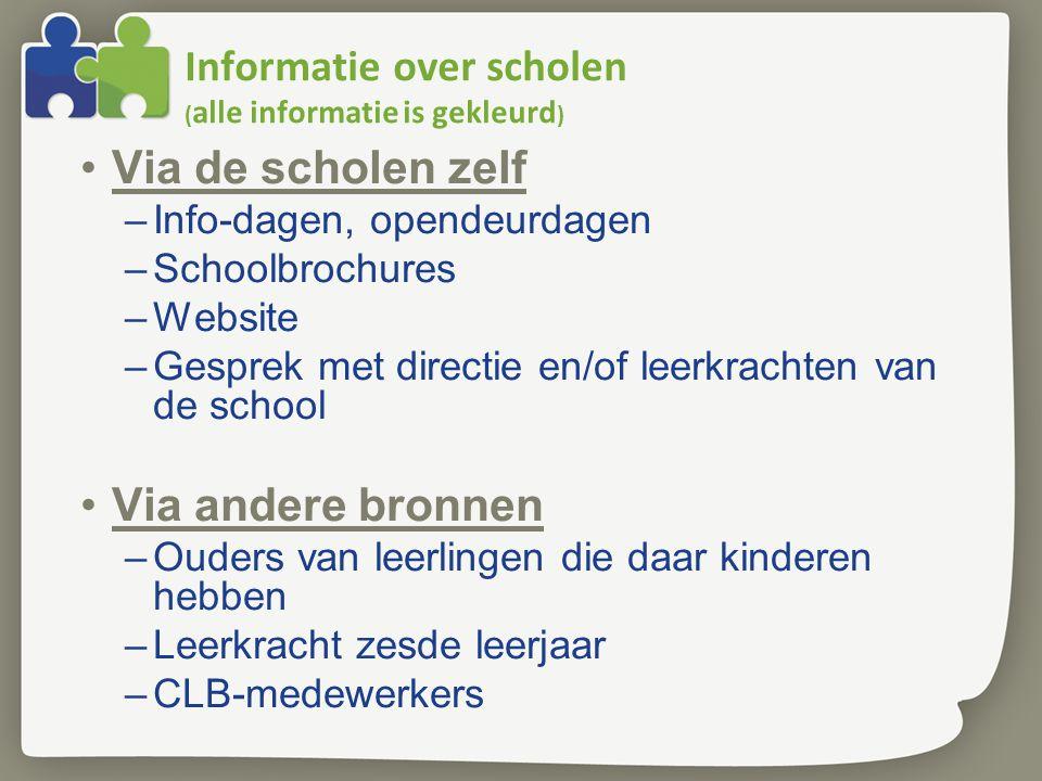 Informatie over scholen ( alle informatie is gekleurd ) Via de scholen zelf –Info-dagen, opendeurdagen –Schoolbrochures –Website –Gesprek met directie