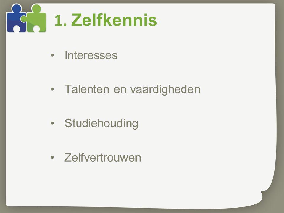 1. Zelfkennis Interesses Talenten en vaardigheden Studiehouding Zelfvertrouwen