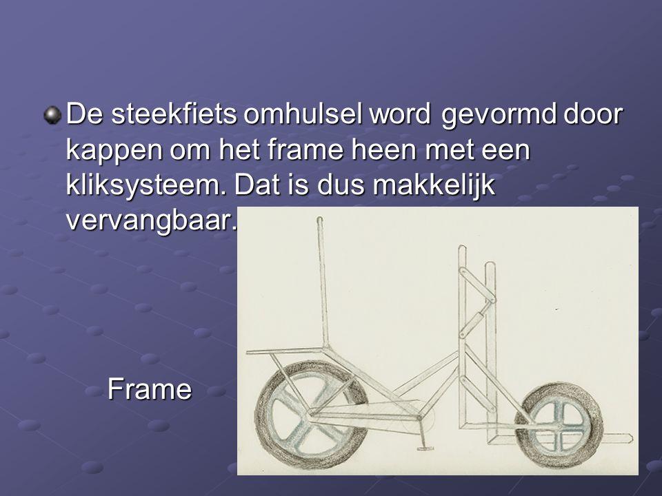 De steekfiets omhulsel word gevormd door kappen om het frame heen met een kliksysteem. Dat is dus makkelijk vervangbaar. Frame
