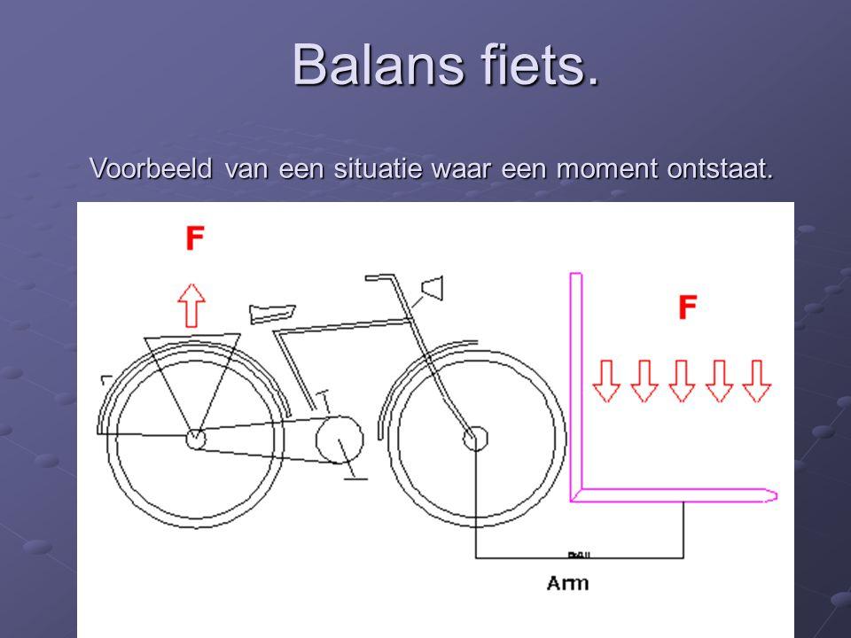 Voorbeeld van een situatie waar een moment ontstaat. Balans fiets.