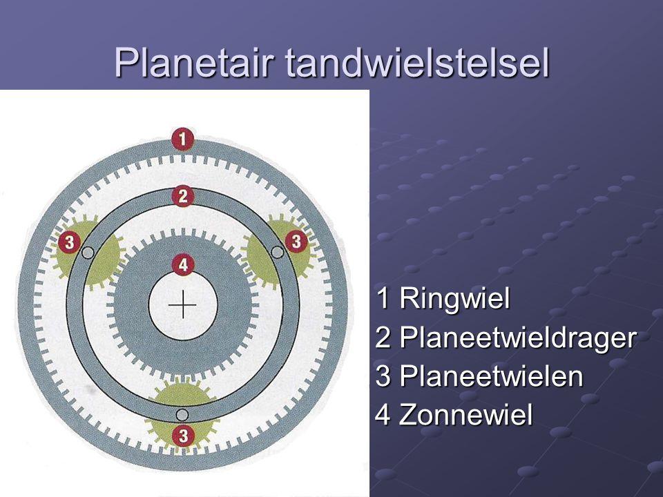 Planetair tandwielstelsel 1 Ringwiel 2 Planeetwieldrager 3 Planeetwielen 4 Zonnewiel