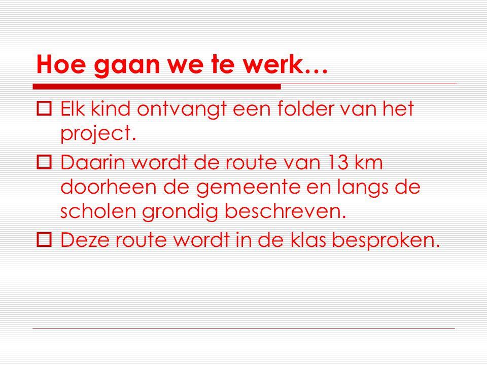Hoe gaan we te werk…  Elk kind ontvangt een folder van het project.