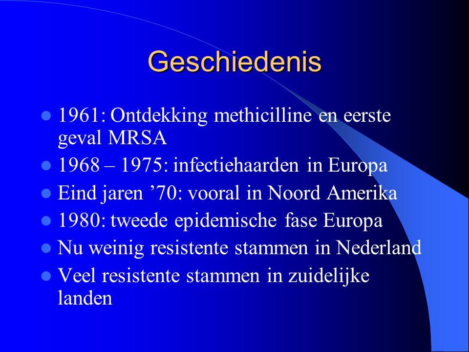 Geschiedenis 1961: Ontdekking methicilline en eerste geval MRSA 1968 – 1975: infectiehaarden in Europa Eind jaren '70: vooral in Noord Amerika 1980: t