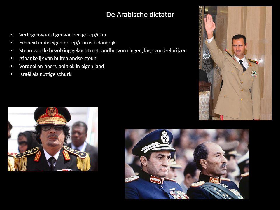 De Arabische dictator Vertegenwoordiger van een groep/clan Eenheid in de eigen groep/clan is belangrijk Steun van de bevolking gekocht met landhervormingen, lage voedselprijzen Afhankelijk van buitenlandse steun Verdeel en heers-politiek in eigen land Israël als nuttige schurk
