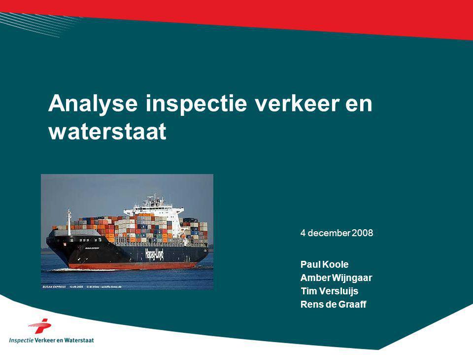 4 december 2008 Analyse inspectie verkeer en waterstaat Paul Koole Amber Wijngaar Tim Versluijs Rens de Graaff