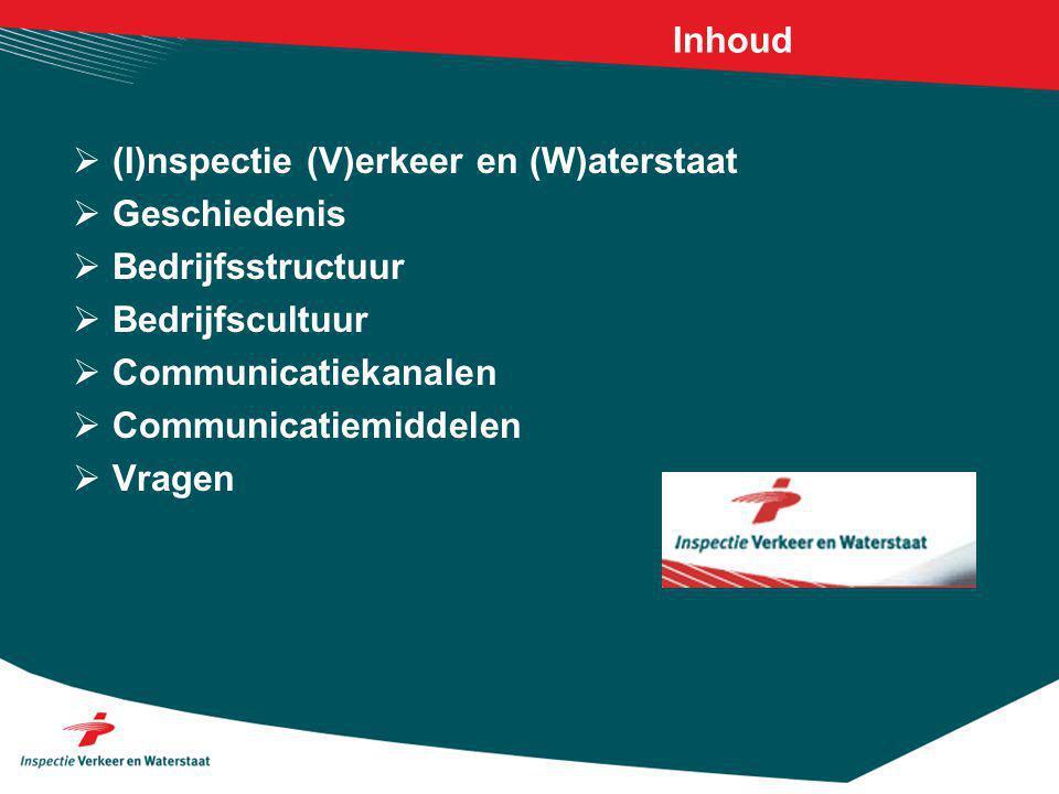 Inhoud  (I)nspectie (V)erkeer en (W)aterstaat  Geschiedenis  Bedrijfsstructuur  Bedrijfscultuur  Communicatiekanalen  Communicatiemiddelen  Vragen
