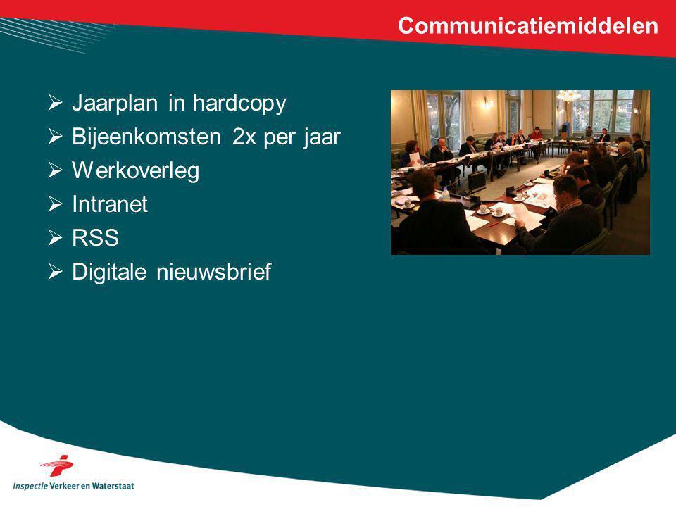 Communicatiemiddelen  Jaarplan in hardcopy  Bijeenkomsten 2x per jaar  Werkoverleg  Intranet  RSS  Digitale nieuwsbrief