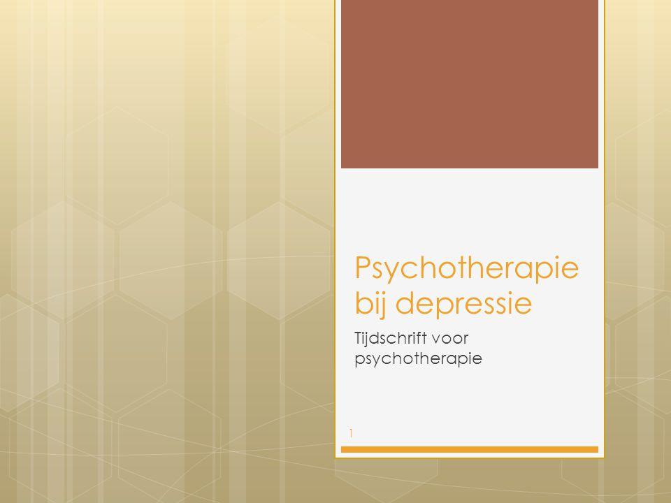 Psychotherapie bij depressie Tijdschrift voor psychotherapie 1