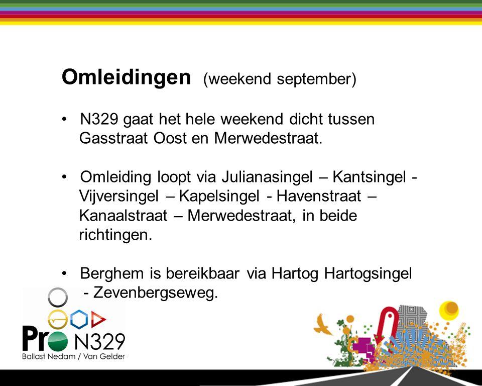 Omleidingen (weekend september) N329 gaat het hele weekend dicht tussen Gasstraat Oost en Merwedestraat.