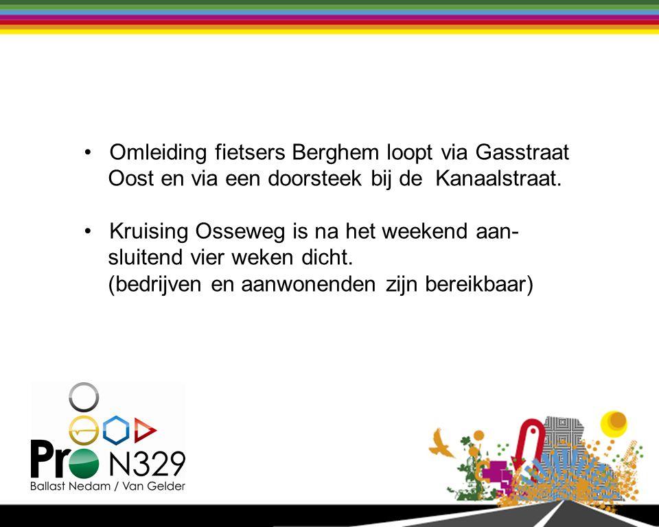 Werkzaamheden (weekend september) Aanpassen van de kruisingen Berghemseweg en Singel 1940-1945 om rijbanen N329 tijdelijk te kunnen verschuiven.