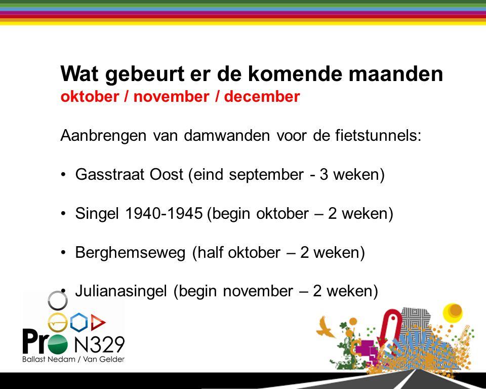 Wat gebeurt er de komende maanden oktober / november / december Aanbrengen van damwanden voor de fietstunnels: Gasstraat Oost (eind september - 3 weken) Singel 1940-1945 (begin oktober – 2 weken) Berghemseweg (half oktober – 2 weken) Julianasingel (begin november – 2 weken)