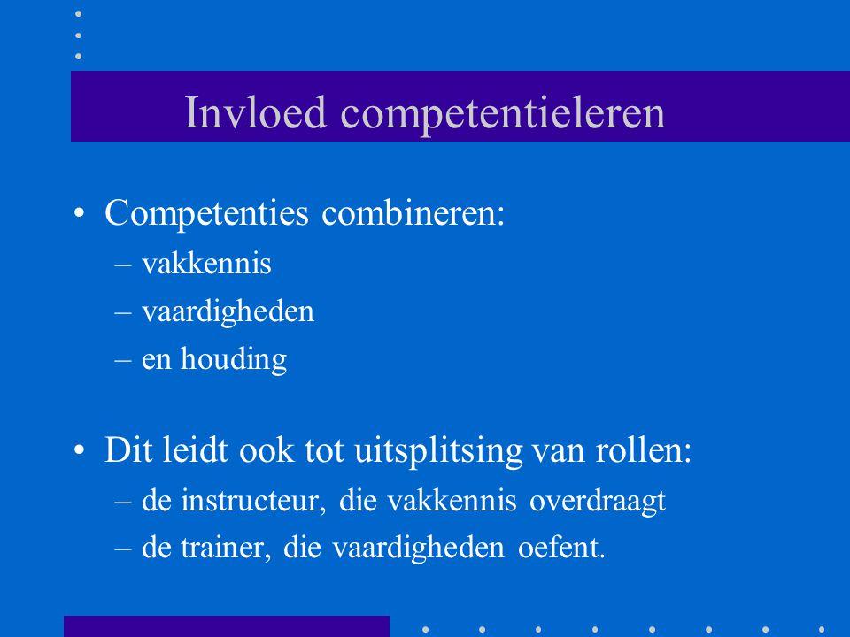 Invloed competentieleren Competenties combineren: –vakkennis –vaardigheden –en houding Dit leidt ook tot uitsplitsing van rollen: –de instructeur, die vakkennis overdraagt –de trainer, die vaardigheden oefent.
