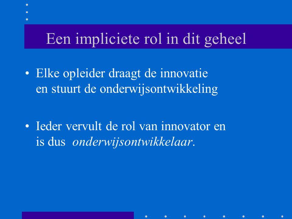 Een impliciete rol in dit geheel Elke opleider draagt de innovatie en stuurt de onderwijsontwikkeling Ieder vervult de rol van innovator en is dus onderwijsontwikkelaar.