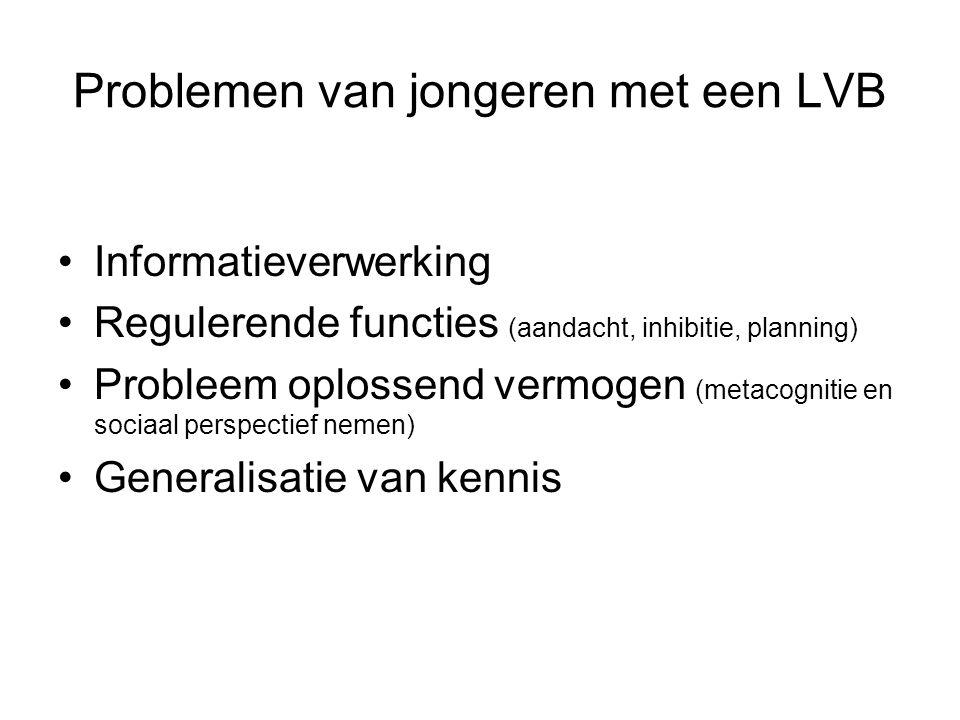 Problemen van jongeren met een LVB Informatieverwerking Regulerende functies (aandacht, inhibitie, planning) Probleem oplossend vermogen (metacognitie en sociaal perspectief nemen) Generalisatie van kennis