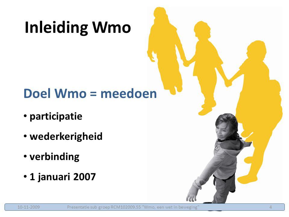 Opzet in 4 programmalijnen 1.trends onderzoeken en scenario's beschrijven die van invloed zijn op participatie op middellange termijn 2.nieuwe aanpakken ontwikkelen, innovaties 3.wetenschappelijk toetsen van methoden gebruikt bij de uitvoering van de Wmo 4. Professionaliteit Verankerd en Vernieuwend Welzijn richt zich op het ontwikkelen van kwaliteitsstandaarden voor professionals en aanpakken programma Beter in Meedoen Presentatie sub groep RCM102009.55 Wmo, een wet in beweging 1510-11-2009