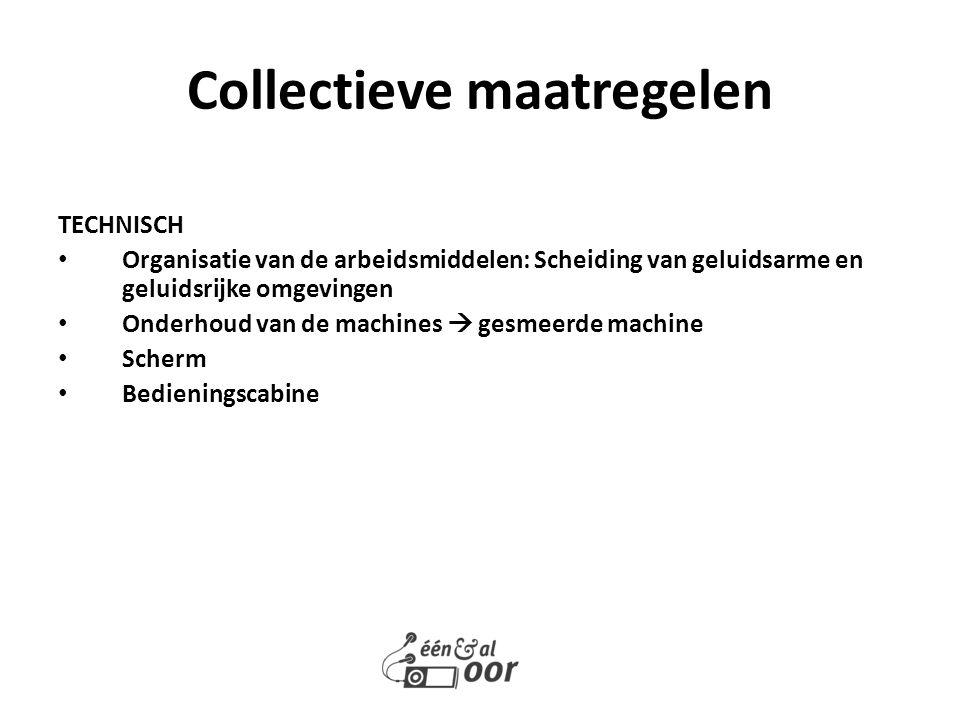 TECHNISCH Organisatie van de arbeidsmiddelen: Scheiding van geluidsarme en geluidsrijke omgevingen Onderhoud van de machines  gesmeerde machine Scher